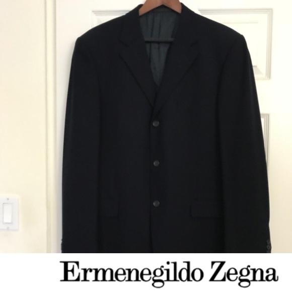 cefb04a0 Ermenegildo Zegna Soft 100% Wool Navy Blue Blazer